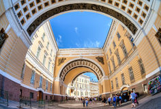 Arch of the General Staff Building on Palace Square in St. Peter stock images