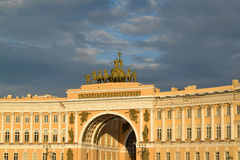 The arch of the General Staff Building shined with beams Royalty Free Stock Image