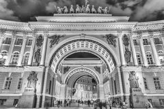Arch of the General Staff Building, St. Petersburg, Russia Stock Images