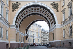 Arch of the General Staff is in city Saint Petersburg Royalty Free Stock Photo