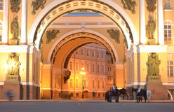 Arch of the General Staff at night Stock Photography
