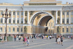 The arch of General staff on Palace square. Royalty Free Stock Photo