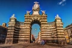 The arch Giuseppe Garibaldi, Catania, Sicily. The arch Giuseppe Garibaldi built to honor the Spanish King Ferdinand I, Catania, Sicily. Triumphal arch built in stock photo