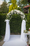Arch in golf club prepared for weeding Royalty Free Stock Photography