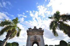 Arch great beautiful. Symbol of Vientiane, Laos Royalty Free Stock Photo