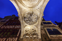 The arch of Great Clock in Rouen Royalty Free Stock Image