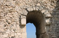 Arch in Greek style, look to the sky. Ancient arch in the Greek style, the old town, Crimea Royalty Free Stock Photography