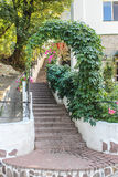 Architecture. Arch of green leaves with stairs to the top in summer stock photo