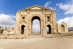Arch of hadrian. The arch of hadrian in ancient jerash, jordan royalty free stock image