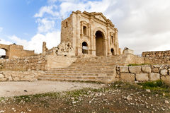 Arch of hadrian in ancient jerash. The arch of hadrian in ancient jerash, jordan Royalty Free Stock Images