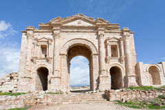 Arch of Hadrian in Jerash in Jordan. Arch of Hadrian in antique Greco-Roman city of Gerasa Jerash in Jordan Royalty Free Stock Image