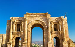 The Arch of Hadrian in Jerash Stock Photos