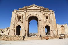 Arch of Hadrian - Jerash, Jordan. The Arch of Hadrian at the Roman Ruins of Jerash in Jordan Royalty Free Stock Images