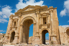 The Arch of Hadrian at Jerash in Jordan showing the front view Royalty Free Stock Photography