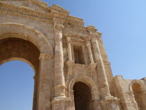 The Arch of Hadrian in Jerash, Jordan. This is a triumphal arch built in AD 129 to commemorate the visit of the Emperor Hadrian to Jerash in Jordan Stock Image
