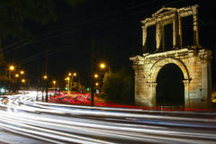 The Arch of Hadrian. Most commonly known in Greek as Hadrian`s Gate, is a monumental gateway resembling – in some respects – a Roman triumphal arch. It Royalty Free Stock Image
