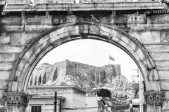 Arch of Hadrian overlooking Acropolis, Athens, Greece royalty free stock images
