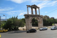 ARCH OF HADRIAN. / Hadrian`s gate in Athens, Greece Royalty Free Stock Images