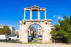 Hadrian's Gate in Athens Stock Images