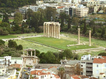Arch of Hadrian and Temple of Olympian Zeus as seen from Areopagus Hill or Mars Hill, Athens Stock Image
