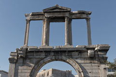 Arch of Hadrian. The Arch of Hadrian with a view of the Acropolis in Athens, Greece Stock Photography