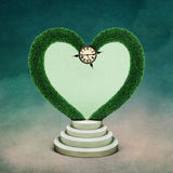 Arch Heart. Conceptual illustration with green arch in shape of  heart and watch, Wonderland. Computer graphics Stock Image