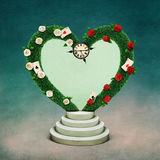 Arch Heart. Conceptual illustration with green arch in shape of heart and watch, Wonderland. Computer graphics royalty free illustration