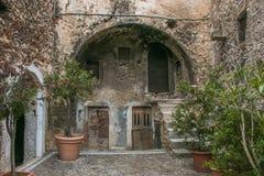 Arch in the historic center of Santo Stefano di Sessanio in Abruzzo stock photos