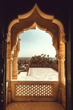 Arch of historical carved balcony inside old building in India. Arch of historical carved balcony inside old building in India Royalty Free Stock Photo