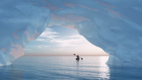 The arch iceberg. Paddle man in a small boat to the bow of an iceberg. This is a 3d render illustration Royalty Free Stock Image