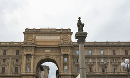 Arch with inscription on Piazza della Repubblica in Florence Stock Image