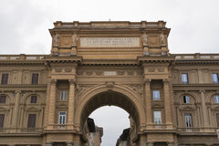 Arch with inscription on Piazza della Repubblica in Florence Royalty Free Stock Photo