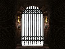 Arch with iron gate isolated. Medieval castle arch with iron castle gate and torches.3d illustration Royalty Free Stock Photography
