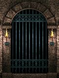 Arch with iron gate. Medieval castle arch with iron castle gate and torches.3d illustration Royalty Free Stock Photos