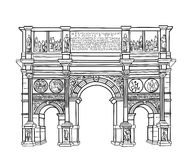 Arch isolated. Rome landmark Constantins arch. Arch isolated. Italy. Rome famous building Constantins arch. Architectural Vector sketch Royalty Free Stock Photos