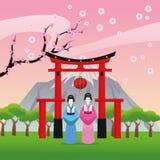 Arch japan culture design. Arch woman architecture building mountain japan culture landmark asia famous icon. Colorful design. Vector illustration Stock Photography