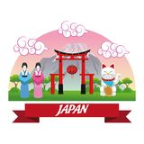 Arch japan culture design. Arch woman cat luck architecture building mountain japan culture landmark asia famous icon. Colorful design. Vector illustration Royalty Free Stock Photo