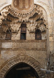 Arch, Khan el-Kalil bazaar. Ancient arch with windows, probably for the harem women,in the 700-year-old Khan el Khalili bazaar, Cairo