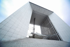 Arch in La Defense business district in Paris. France, gray and white Royalty Free Stock Images
