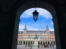 Arch and Lamp at Plaza Mayor Square Royalty Free Stock Photos