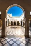 Arch leading into courtyard, Bahia Palace,Morocco.  Stock Photo
