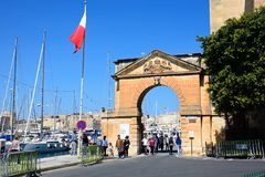 Arch leading to the marina, Vittoriosa. Stock Images