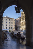An arch leading to Plaza Mayor in Cuenca, Spain Stock Images