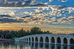 17 arch lion bridge Royalty Free Stock Image
