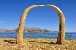 Arch Made of Reed on Uros Floating Island Stock Photo