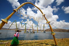 Arch Made of Reed on Uros Floating Island Royalty Free Stock Photo