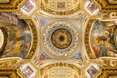 The arch of the main dome of St. Isaac`s Cathedral. Saint - Peterburg. Stock Photography