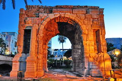 The Arch of Marcus Aurelius. Roman triumphal arch in Tripoli, Libya. It is a quadrifrons triumphal arch, surmounted by an unusual octagonal cupola. The monument Royalty Free Stock Image