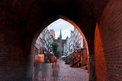 Arch of Mary's Street in Gdansk Stock Photos
