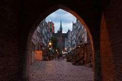Arch of Mary's Street in Gdansk Stock Images